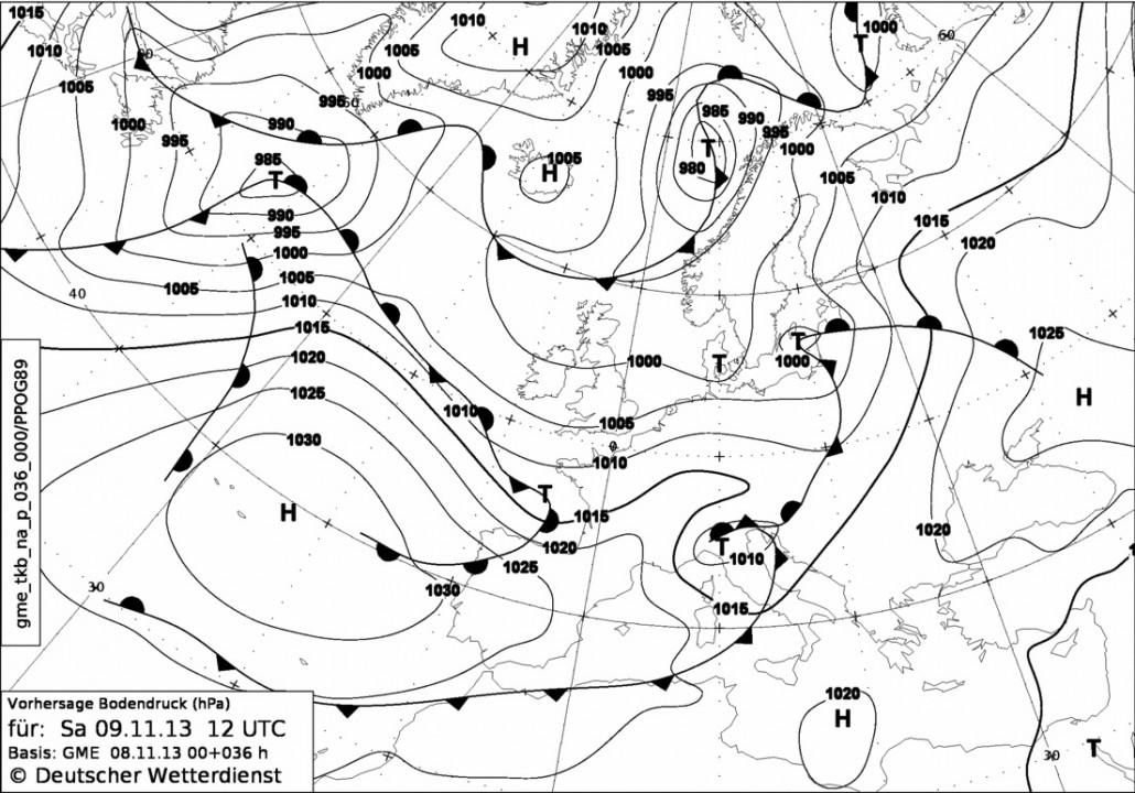 lire une carte marine Carte isobarique | Lire la météo | Apprendre à faire de la voile